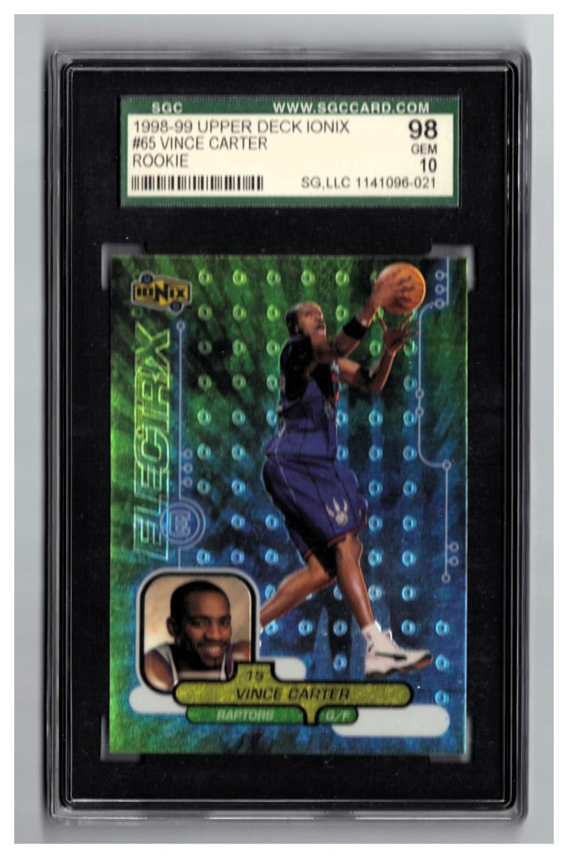 1998-99 UD IONIX #65 VINCE CARTER RC SGC 98 =PSA 10 and BGS 9.5 Gem Mint