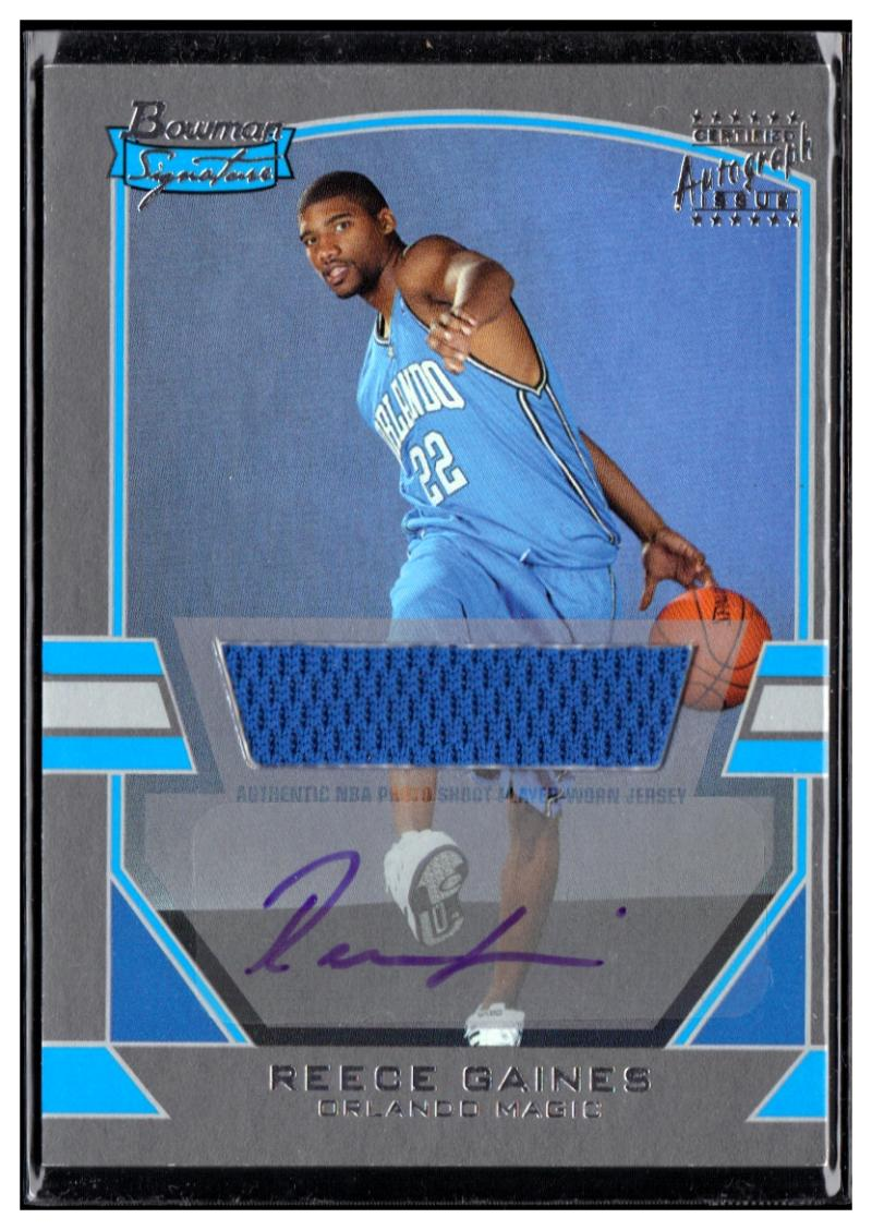 2003-04 Bowman Signature Edition Silver #86 Reece Gaines EX/NM AU MEM #'d/249