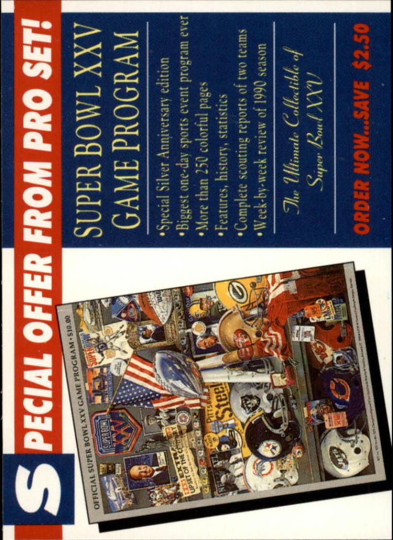 1990 Pro Set Super Bowl  Special Offer #NNO Special Offer Card EX/NM