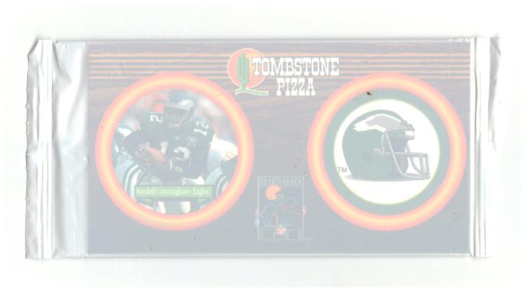 1996 Tombstone Pizza Quarterback Club Caps Sealed Pack #12 Randall Cunningham Unopened