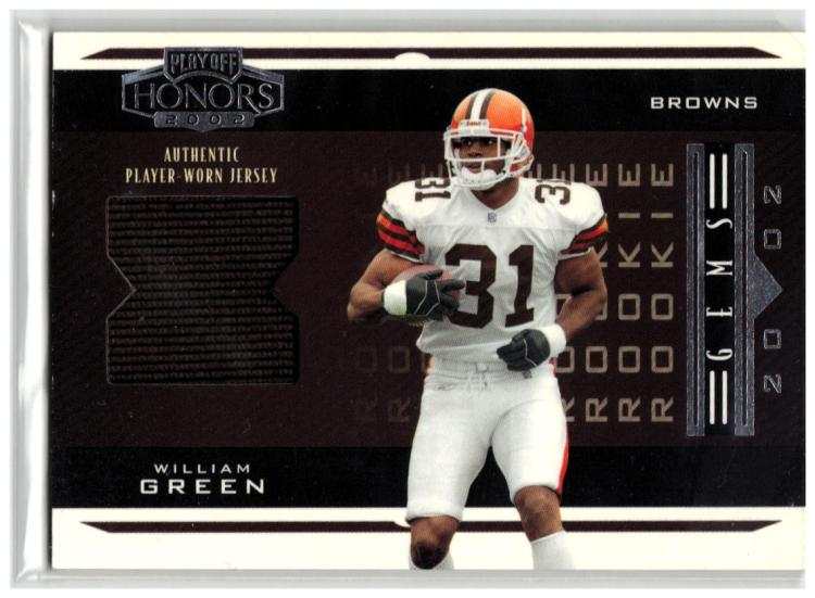2002 Playoff Honors #214 William Green Jersey EX++ RC-Rookie MEM #'d/650 Browns