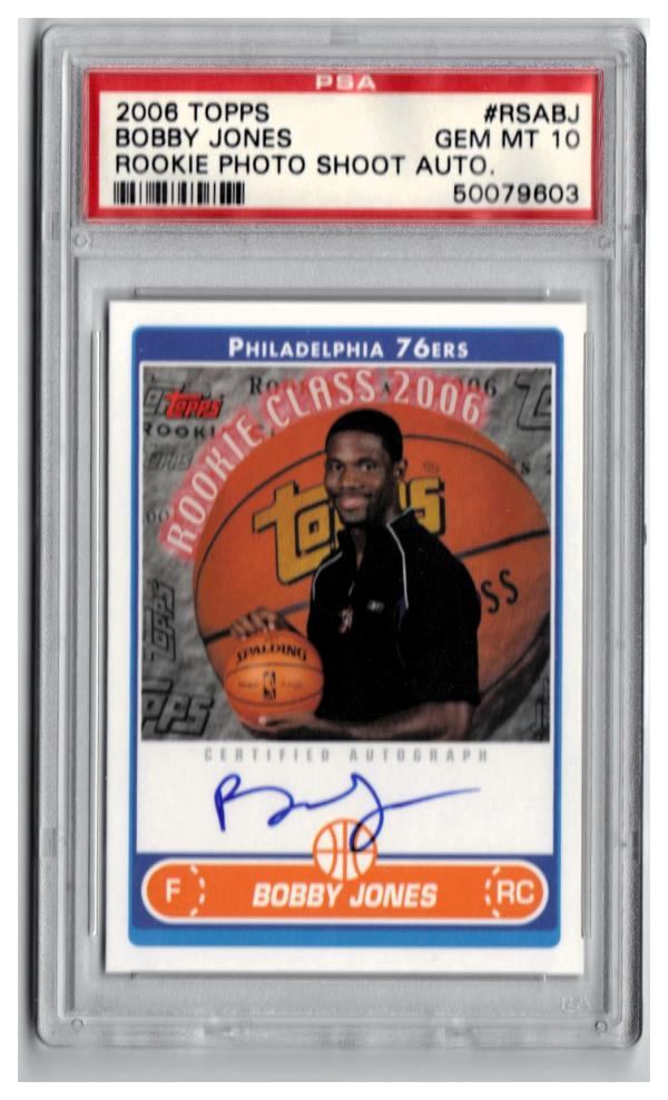 2006-07 TOPPS ROOKIE PHOTO SHOOT AUTOGRAPHS #BJ BOBBY JONES  PSA 10 (PSA Pop. 2)