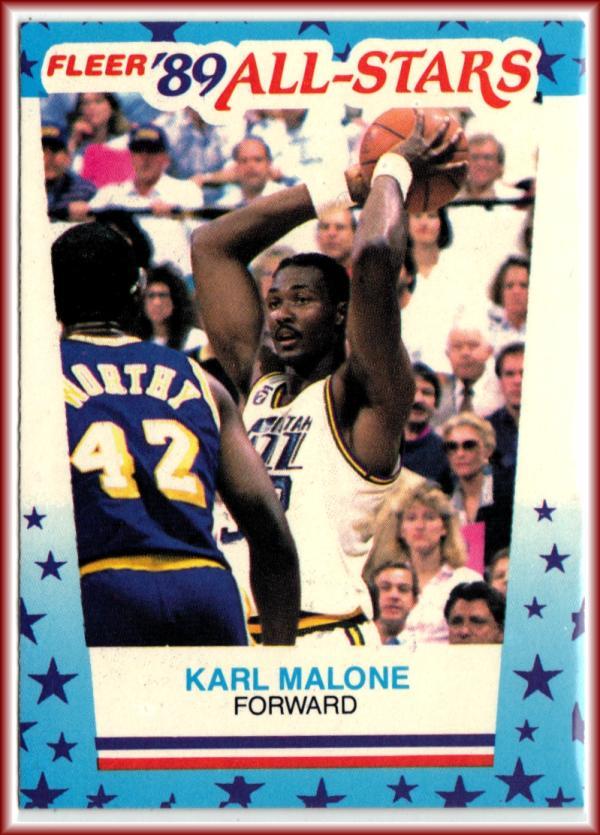 1989-90 Fleer Stickers #1 Karl Malone  Jazz Basketball