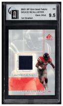 2001 SP Game Used Edition Authentic Fabric #DM Deuce McAllister Graded GAI 9.5 Gem Mint MEM