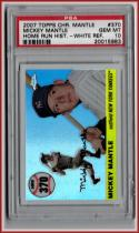 2007 Topps Chrome Mantle Home Run History White Refractors #370 Mickey Mantle PSA 10 GEM MINT #'d 60/200 PSA Pop 1