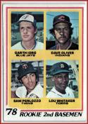 1978 Topps #704 Garth Iorg/Dave Oliver/Sam Perlozzo/Lou Whitaker Rookie 2nd Basemen EX++ Excellent++ RC