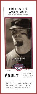 2017 Jeff Bagwell Houston Astros Baseball HOF Museum Ticket Used Ticket Intact