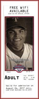 2017 Ivan Rodriguez Texas Rangers Baseball HOF Museum Ticket Used Ticket Intact.