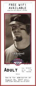 2017 Jeff Bagwell Houston Astros Baseball HOF Museum Ticket Used Ticket Intact EX++